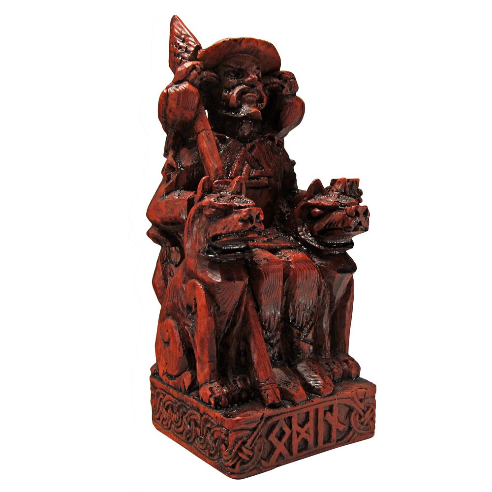 Dryad Design Seated Norse God Odin Statue Wood Finish