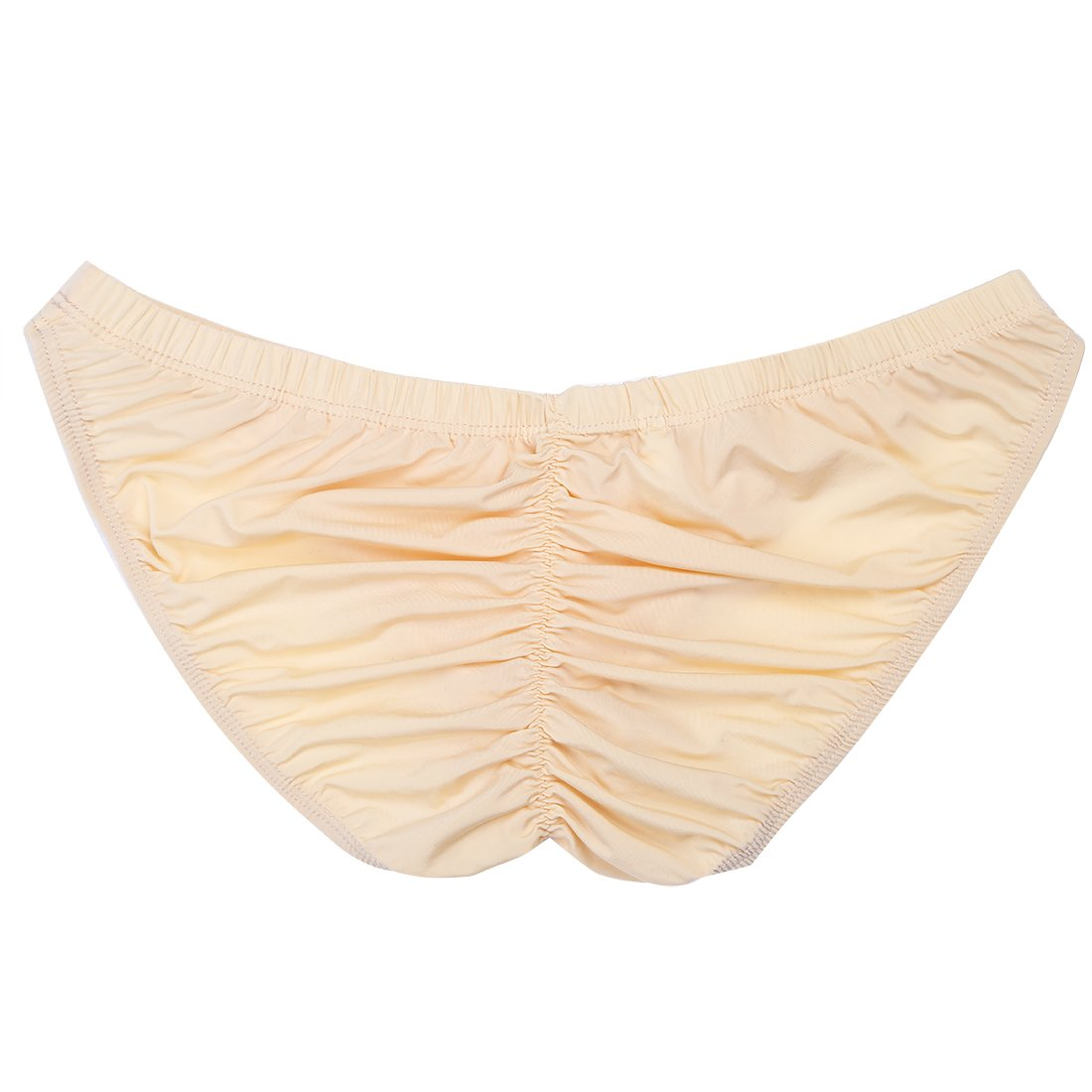 e7cf4d9db Agoky Sexy Men s Silky Bikini Briefs Underwear Ruched Back Bugle Pouch Swimsuit  Swimwear Apricot One Size at Amazon Men s Clothing store