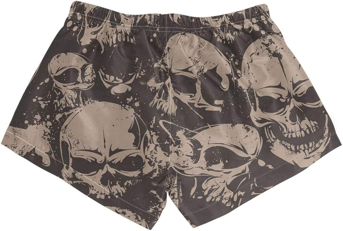 HEOEH Womens Scary Skull Head Beach Shorts Pants Ladies Boardshort Swimming Trunks