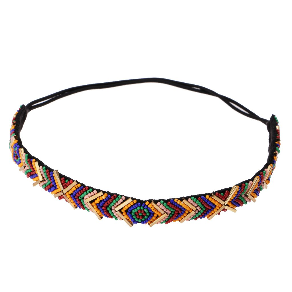 Fashion Boho Party Prom Multicolor Beads Hairband Elastic Headband for Women Hair Jewelry Generic