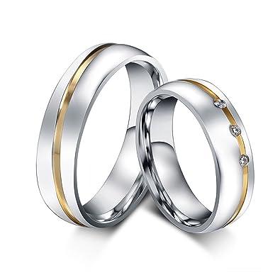 Blisfille 2 Piezas Anillo de Compromiso Mujer Oro Acero Inoxidable de Cúbicos Zirconia para Compromiso O Boda Forma Redonda