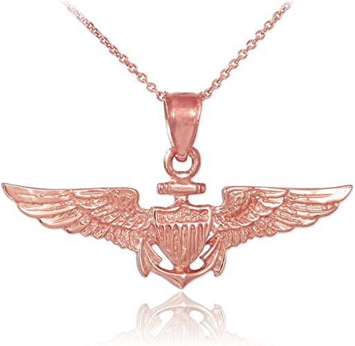 American Heroes 10k Rose Gold Medal-Style Wings Charm US Air Force Pendant Necklace