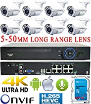 USG Business Grade H.265 4MP 2592x1520 8 Camera HD Security System : Ultra 4K Security NVR + 8x 4MP 5-50mm Vari-Focal Telephoto Lens Bullet Cameras + 1x 4TB HDD : Apple Android Phone App