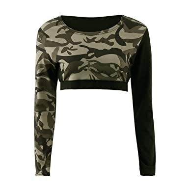 243a5ad21367a Balai Womens Army Camouflage Print Long Sleeve Short Stretch Ladies Crop  Tops