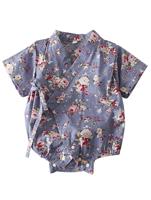 ARAUS Barboteuse Bébé Infantile Kimono Manches Courtes été Kimono Enfant Bébé 3-24 mois