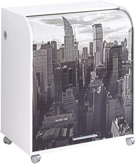 Simmob Meuble Informatique Blanc A Roulettes Rideau Imprime Coloris New York 500 Bois Amazon Fr Cuisine Maison