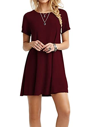 I2CRAZY Womens Short Sleeve Pockets Casual Plain T-Shirt Loose Dresses (06-Short