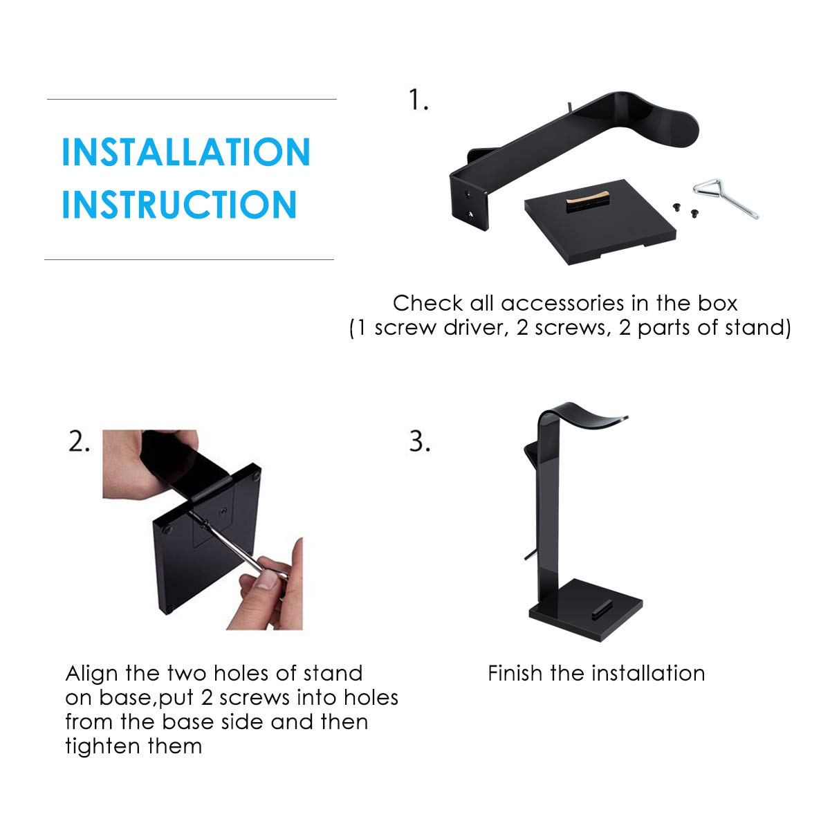 Jinxuny Headphone Holder Portable Headset Stand ,Detachable Headset Earphone Stand Phone Tablet PC Holder with Cable Organizer