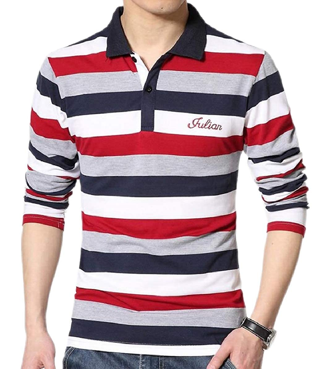 FLCH+YIGE Mens Button up Fashion Plus-Size Lapel Polo Shirt Long-Sleeves Tops