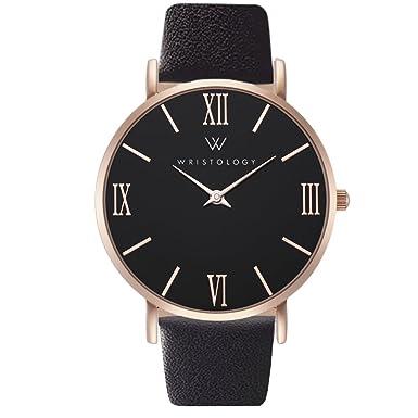 WRISTOLOGY Stella Womens Rose Gold Roman Numeral Wrist Watch Black Leather Easy Change Band