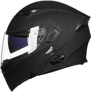 ILM Bluetooth Motorcycle Helmet Modular Flip up Full Face Dual Visor Mp3 Intercom FM Radio DOT Approved