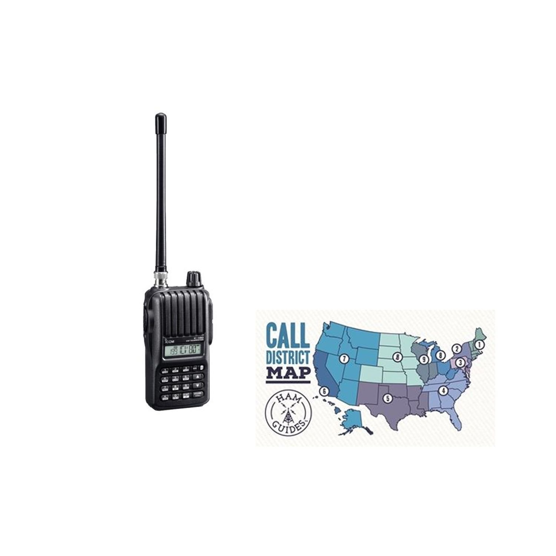 Icom Handheld radio, 2m, 5.5W and Ham Guides TM Pocket Reference Card Bundle