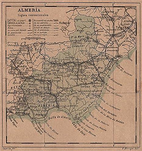 Almería Almería. Andalucía. Mapa Antiguo de la Provincia – 1908 – Old Antiguo Mapa Vintage – Mapas de Impreso de España: Amazon.es: Hogar