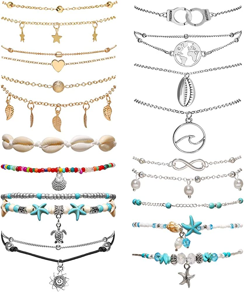 Gold Chain Beach VSCO Shell Ankle Bracelet Jewelry Gifts 16Pcs Turtle Turquoise Anklet Set for Women Girls