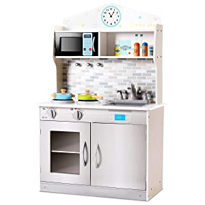 Costzon Kids Kitchen Playset, Wooden Cookware Pretend Cooking Food Set with Removable Sink, Microwave, Pegs on The Wall, Top Display Shelf, Real Cooking Experience, for Toddler (Silver)