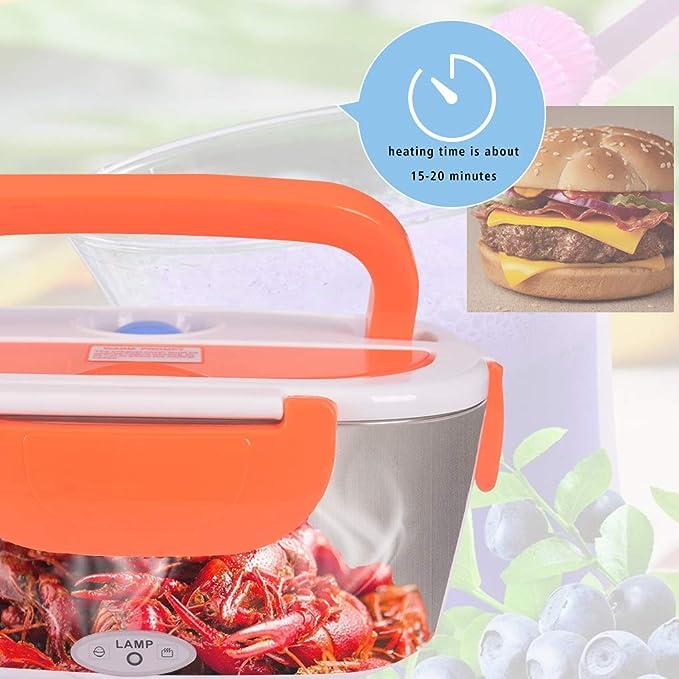 Calentador eléctrico del coche, fiambrera 12V / 220v 2 in1 Calentador térmico eléctrico casero de la comida de la fiambrera(naranja): Amazon.es: Hogar