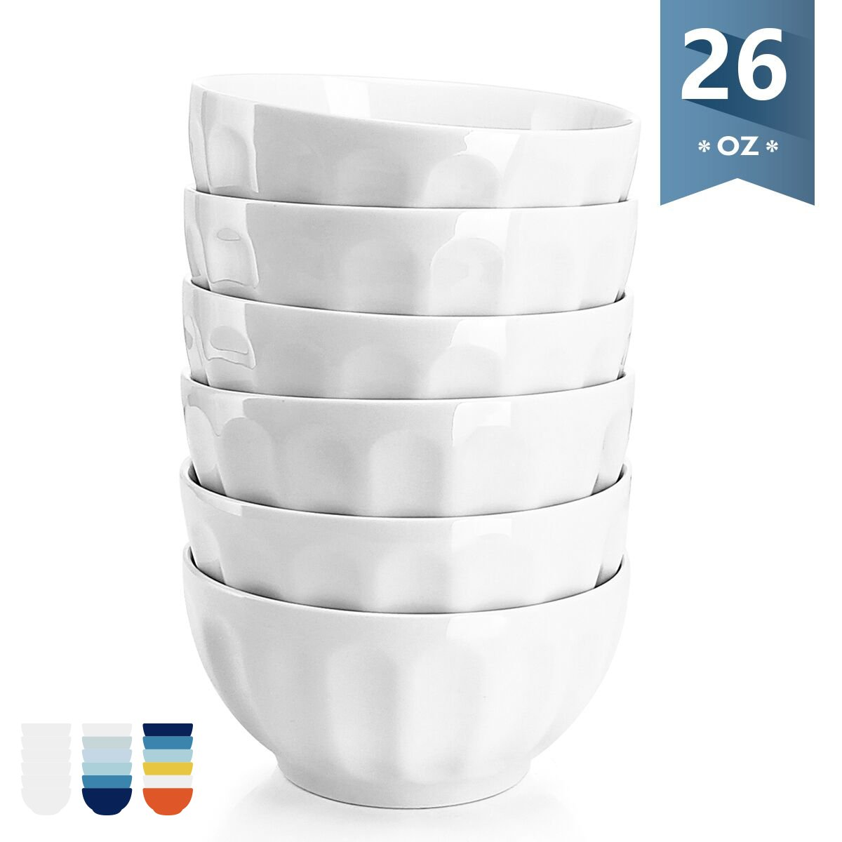 Sweese 1108 Porcelain Fluted Bowl Set - 26 OZ Deep and Microwavable for Cereal, Soup - Set of 6, White