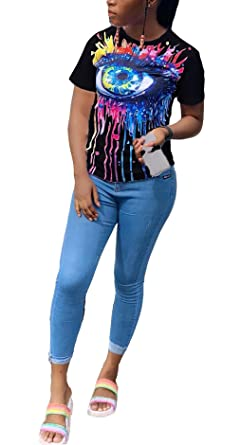 1732b1d8a37 Womens Sexy Short Sleeve Shirts Crew Neck T Shirt Loose Tshirt Pullovers Tunics  Blouses Plus Size