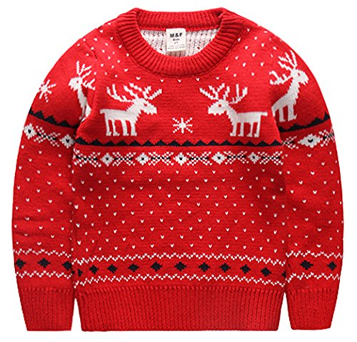Amao Children's Fireplace Lovely ugly Sweater pullover jumper For Christmas Best Gift (5T, Red)]()