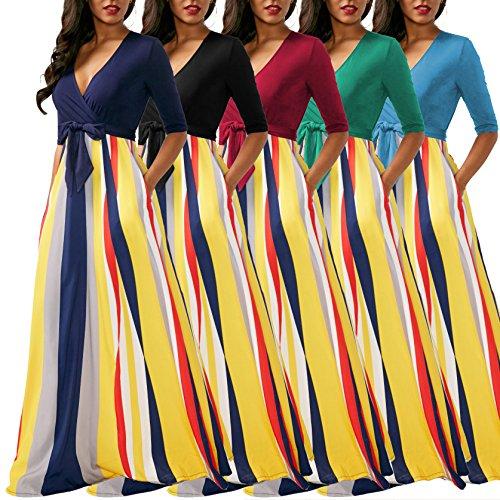 How Long To Read Verwin Half Sleeve Stripes V Neck Womens Maxi