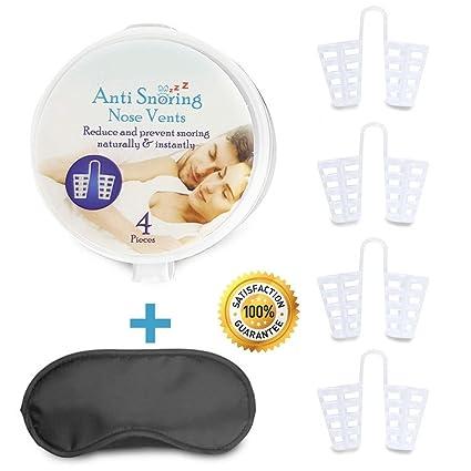 Snoring Solution - Dilatadores nasales con máscara de viaje para dormir, eficaz y natural,