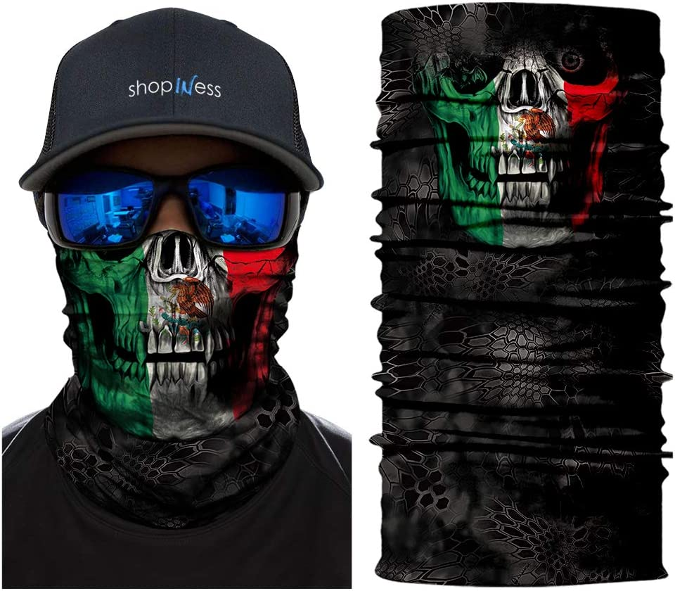 Calavera Bandera Mexicana ShopINess Pa/ñuelo Braga Multifunci/ón