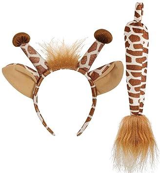 Damen Giraffen Kostüm Set Giraffe Giraffenohren Giraffenschwanz Tierkostüm