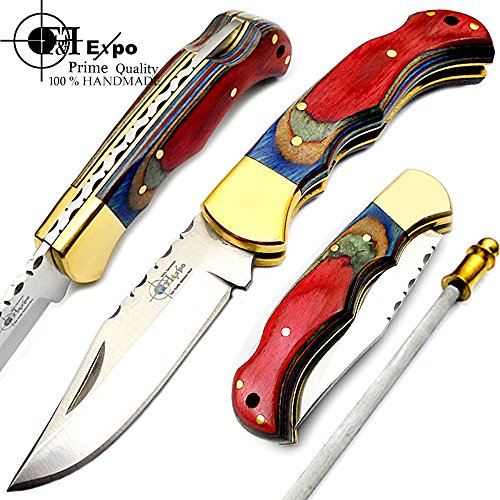 F&f Expo Multi Wood 6.5'' Handmade Stainless Steel Folding Pocket Knife Brass Bloster With Back Lock 100% Top Quality