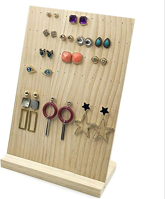 SM SunniMix Natural Wood Jewelry Display Holder Stand Earrings Storage Hanging Rack for Shop Room Counter Earrings Display