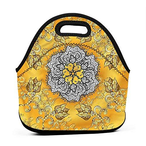 (Large Size Reusable Lunch Handbag Yellow Mandala,Spiral Ornate Petals,lunch bag for)