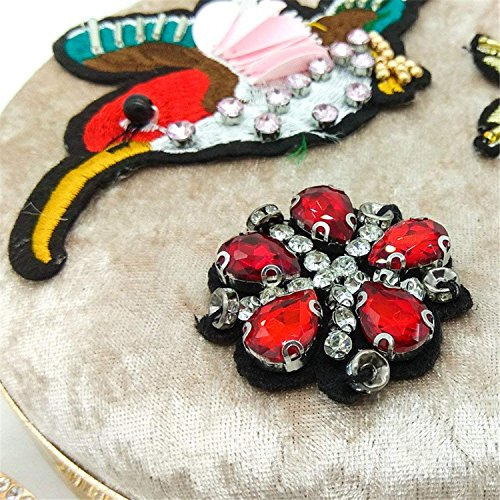 Handbag Bag Gold Clutches Metal Clutch Circular Embroidery Bird Women Crystal Day Flower Box Rising ONRound Party Z6qUnv