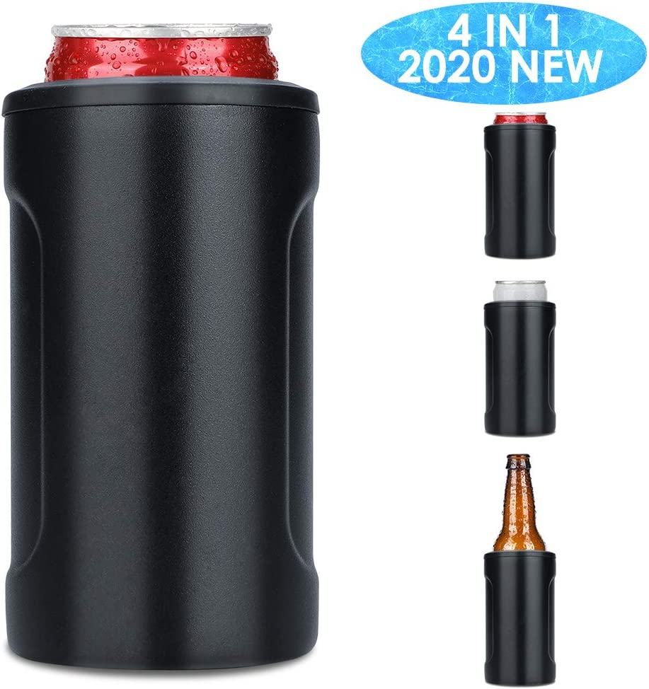 2020 New Slim Can Cooler, 4 in 1 Slim Can Coozie, Insulated Beer Holder, Double-walled Stainless Steel Skinny Can Coozie for 12oz Slim & Short Cans, Beer Bottles & As Drink Cup, Black