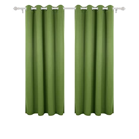 Deconovo Super Soft Solid Thermal Insulated Eyelet Living Room Blackout Curtains For Girls With Two Matching Ties 46 Width X72 Drop 1 Pair Green