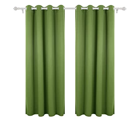 Deconovo Super Soft Solid Thermal Insulated Eyelet Living Room Blackout Curtains For Girls With Two Matching