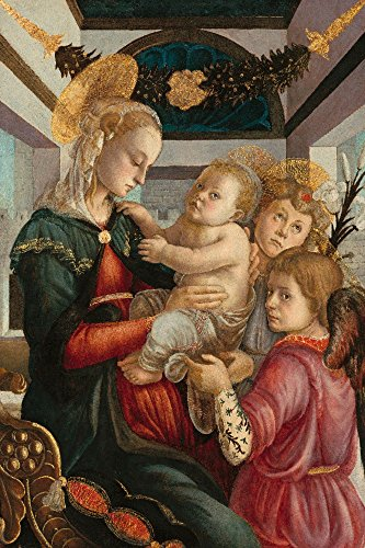 Madonna and Child with Angels - Masterpiece Classic - Artist: Sandro Botticelli c. 1465 (12x18 SIGNED Print Master Art Print w/ Certificate of Authenticity - Wall Decor Travel - Madonna Botticelli