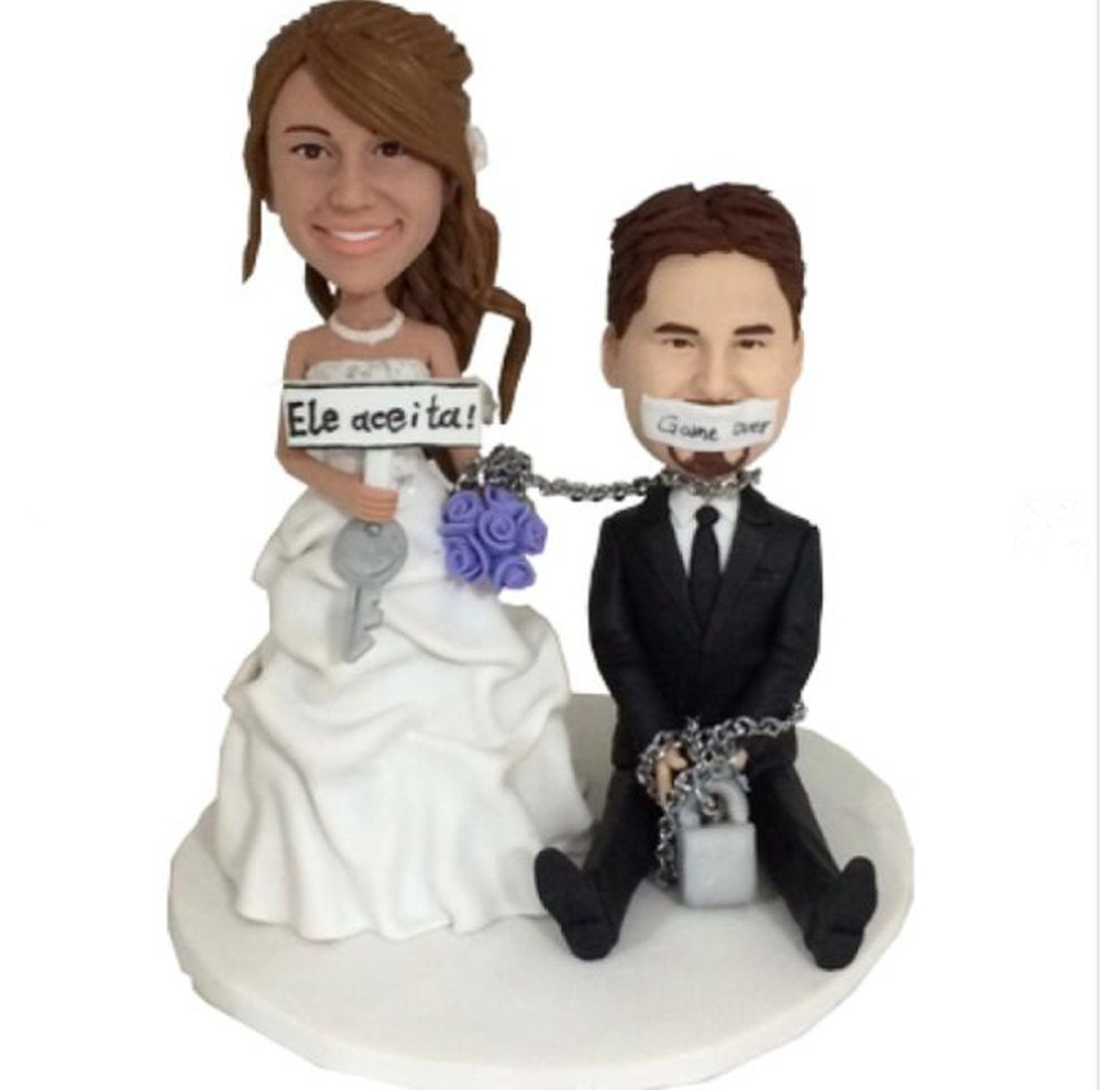 Custom Funny Couple Wedding Bobblehead Polymer Clay Bobbleheads Cake Toppers by MiniBobbleheads