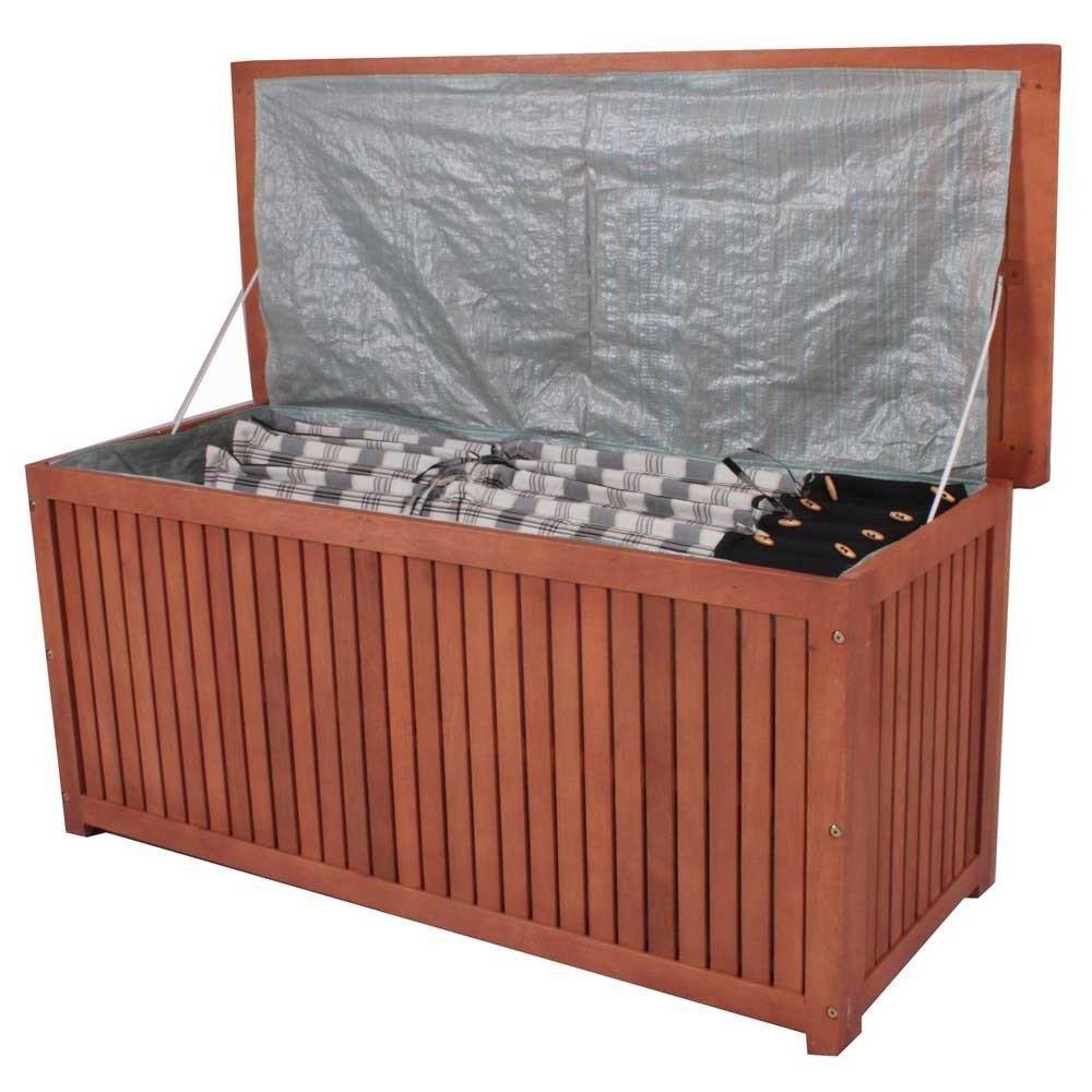 nxtbuy Auflagenbox Washington mit Folieninnentasche aus Akazienholz - Wasserdichte Aufbewahrung - Sitzbank für Gartenpolster
