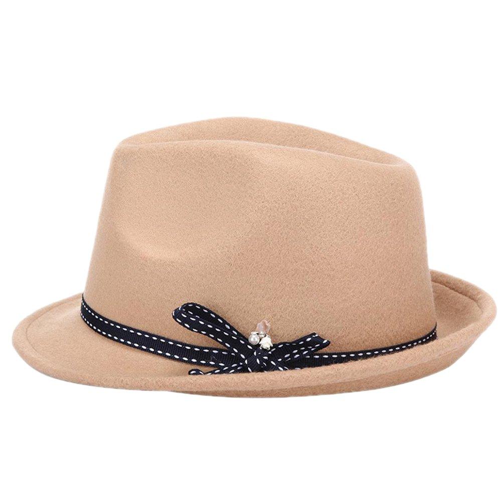 Outflower Damen Mädchen Filz Hut Bowler Mütze Hats Jazzhut Jazz Mütze Hat Sonnenhut Khaki
