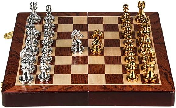 CAIM Sólido Madera Juego de ajedrez, Estilo Retro Pedazos del Metal de Bronce, Tablero de ajedrez Plegable Especial for Adultos y Regalos de los niños y Juegos de Mesa: Amazon.es: Juguetes y