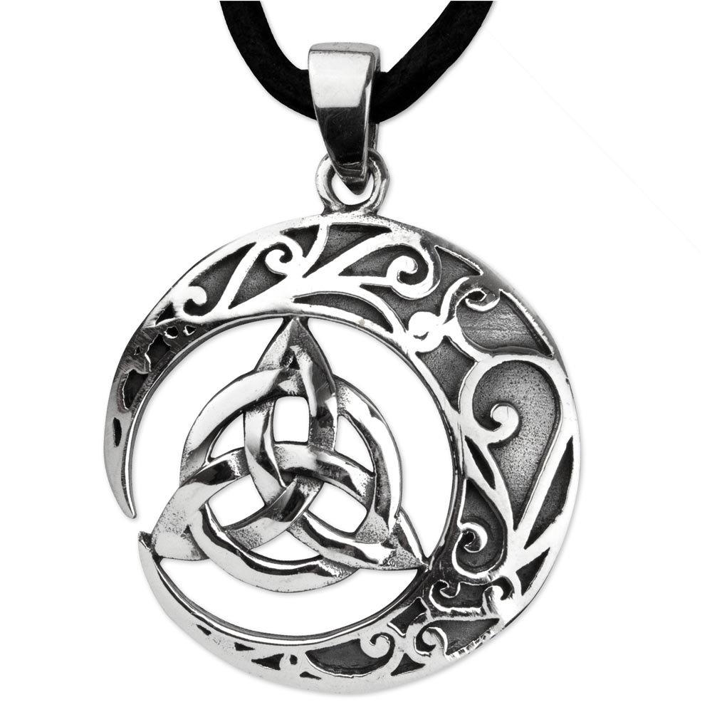 DarkDragon Anhänger Keltischer Knoten 925er Silber Amulett Schmuck Schutzamulett mit Lederhalsband Schmucksäckchen und Karte Celtic 465 66155478782538-465