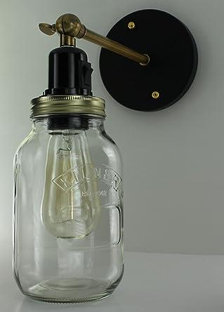 Jam Jar Light Wall Lamp Kilner Vintage Retro Industrial Edison