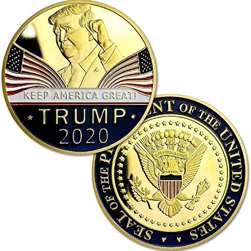 2個のドナルドトランプコイン2020-ゴールドメッキのコレクターコイン、アメリカを素晴らしい状態に保つためのサポートを表示