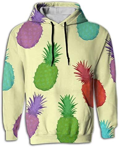 FUSALIN PineappleUnisex 3D Printed Sweatshirt Casual Pullover Hoodie With Big Pockets