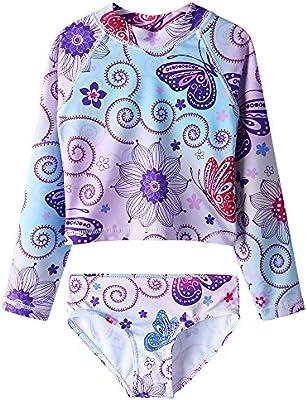 purchase cheap b88ae c0cbc HUAANIUE Mädchen Badeanzug Ärmeln Bademode Bikini Baby Kinder Badekleidung  für Schwimmen Schwimmsportbekleidung UPF 50+ UV-Schutz 4-12 Jahre Rosa & ...