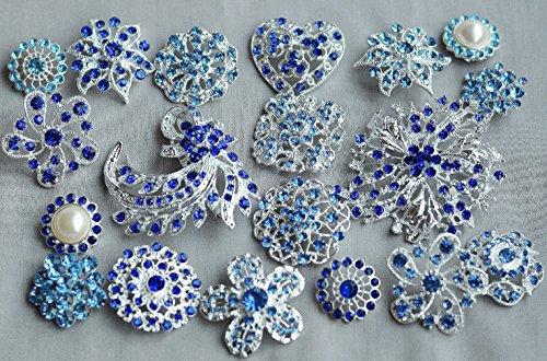 Blue Rhinestone Button Brooch Assorted Pearl Crystal Embellishment Wedding Bridal Bouquet BT994 ()