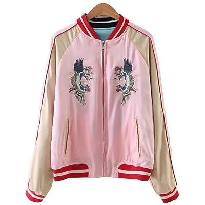 Viport Women's Reversible Crane Tiger Fujiyama Embroidery Bomber Jacket Japanese Style Pink Blue: Clothing