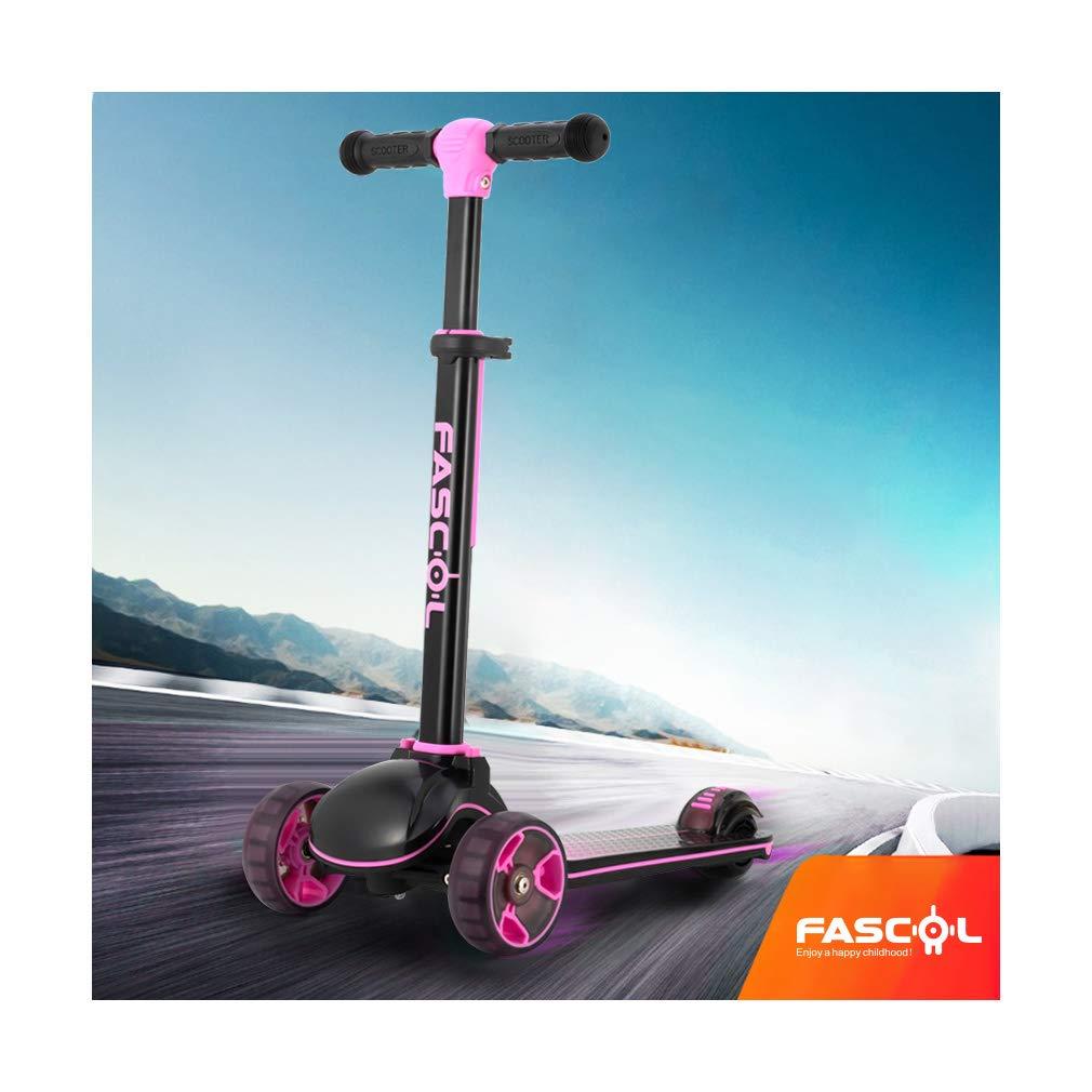 Fascol Patinete de Tres Ruedas para Ni/ños de 3 a 12 A/ños Scooter Plegable y Barra Ajustable en T Luces LED Carga M/áxima 60 kg