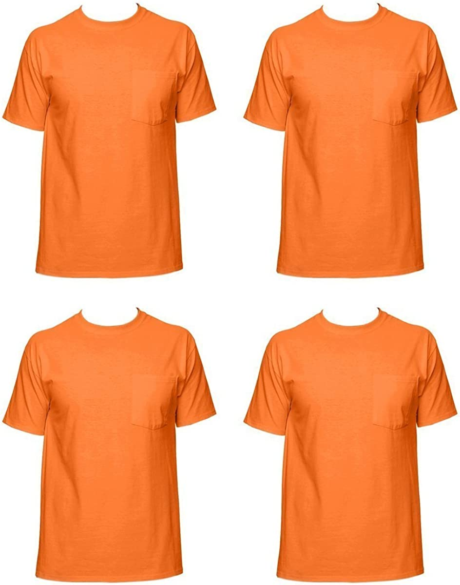 Fruit of the Loom Mens 4-Pack Pocket Crew-Neck T-Shirt Colors May Vary