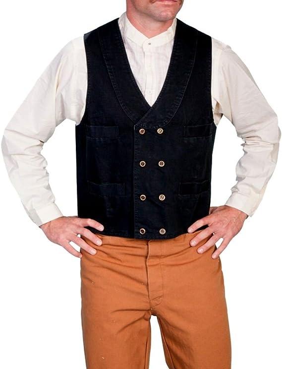 Men's Vintage Vests, Sweater Vests Scully Rangewear Mens Rangewear Cotton Canvas Double Breasted Vest - Rw150 Wal  AT vintagedancer.com