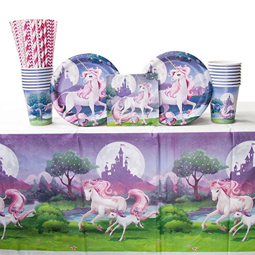 Unicorn Fantasy Party Supplies Pack for 16 Guests Includes: Straws, Dessert Plates, Beverage Napkins, Cups, and Tablecover (Bundle for 16) (Fantasy Party Supplies)